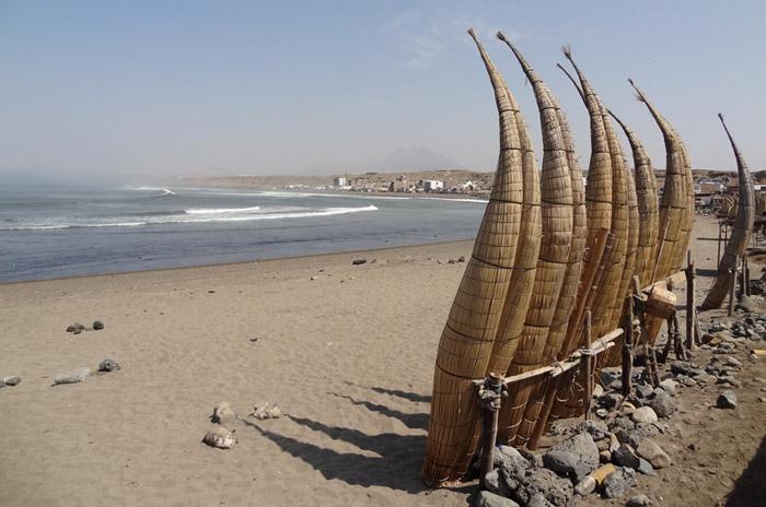 Caballitos de totora on the beach in Huanchaco